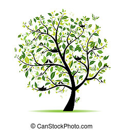 봄, 나무, 너의, 녹색, 디자인, 새