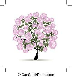 봄, 디자인, 꽃, 나무, 너의