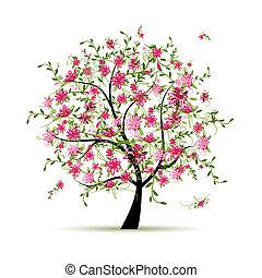 봄, 디자인, 나무, 너의, 장미