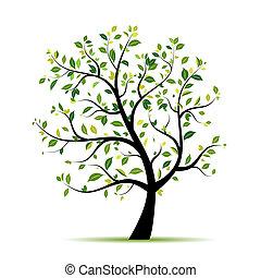 봄, 디자인, 나무, 녹색, 너의