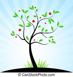 봄, 디자인, 너의, 나무