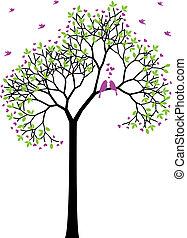 봄, 새, 벡터, 사랑, 나무