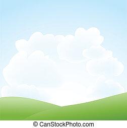 봄, 하늘 구름, 조경술을 써서 녹화하다