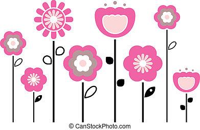 봄, 하얀 꽃, 고립된, retro