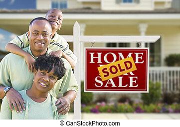 부동산, 가족, 집, 표시, 미국 영어, african, 정면