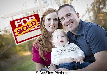 부동산, 가족, 팔린다, 나이 적은 편의, 표시, 정면, 행복하다