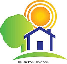 부동산, 집, 나무, 태양, 로고