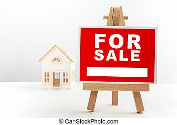 부동산, 집, 판매 표시, 정면, model., 작다, 빨강