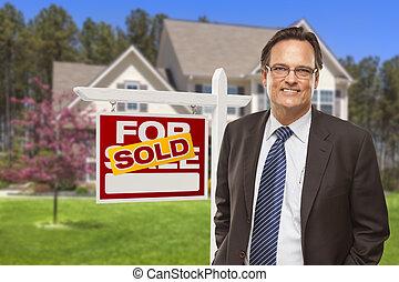 부동산, 집, 팔린다, 대리인, 표시, 정면, 남성