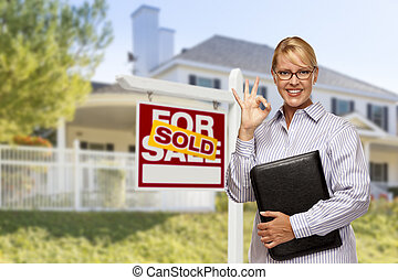 부동산, 집, 팔린다, 대리인, 표시, 정면