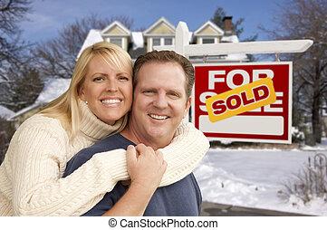 부동산, 집, 한 쌍, 표시, 정면, 새로운