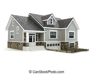 부동산, 집, concept., 고립된, white.