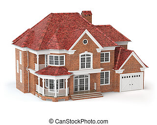 부동산, 집, concept., 고립된, white., 3차원