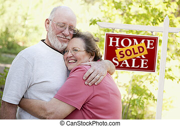 부동산, 한 쌍, 표시, 정면, 연장자, 팔린다