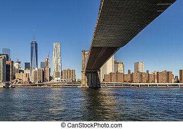 부루클린, 보는, 지평선, 쪽, 맨해튼