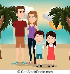 부모님, 바닷가, 아이들