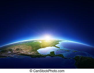 북쪽, 위의, 구름도 없다, 지구, 미국, 해돋이