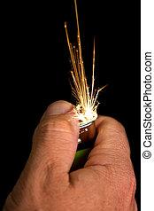 불꽃, 손, 점화기, 발화하는