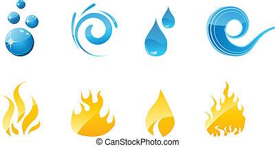 불 물, 세트, 아이콘