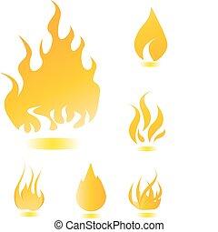 불, 세트, 아이콘
