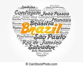 브라질, 낱말, 심장, 구름, 표, 도시