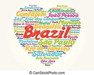 브라질, 심장, 낱말, 표, 도시, 구름