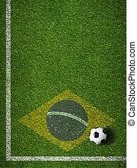 브라질, 축구 공, 들판, 기, 풀