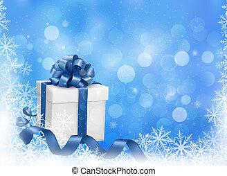 블루 박스, illustration., 선물, snowflakes., 벡터, 배경, 크리스마스