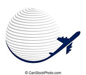 비행기, 벡터, 지구, 아이콘