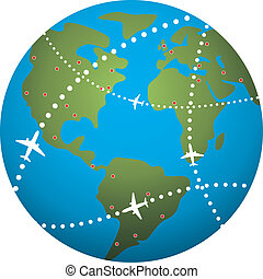 비행기, 지구, 위의, 비행 경로