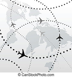 비행, 계획, 여행, 접속, 세계, 비행기