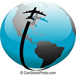 비행, 제트기, 위의, 좁은 길, 지구, 비행기, 그림자
