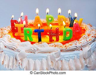 """빛, 다채로운, 초, 식욕을 돋우는, 생일, """"happy, 원본, 케이크, birthday"""""""