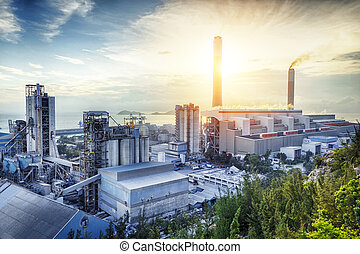 빛, 산업, 석유 화학 제품, 백열, sunset.