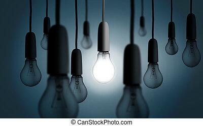 빛, 하나, 불을 붙이게 된다, 전구, 위로의