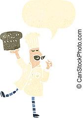 빵 굽는 사람, retro, 만화, bread