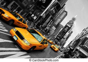 사각형, 기계의 운전, 택시, 흐림, 도시, 시간, 요크, 초점, 새로운