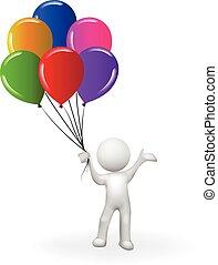 사람, 기구, 3차원, 남자, 백색, 행복하다, 다발, 생일