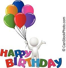 사람, 생일, 낱말, 백색, 행복하다, 기구, 3차원