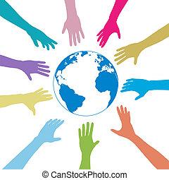 사람, 지구, 범위, 색, 손, 지구, 나가