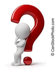 사람, -, 질문, 복잡하게 하는, 작다, 3차원