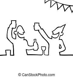 사람, 파티에서 접대하는 것, 2, 은 마신다