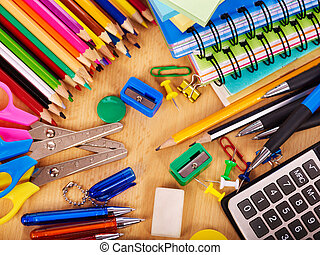 사무실, 학교, supplies.