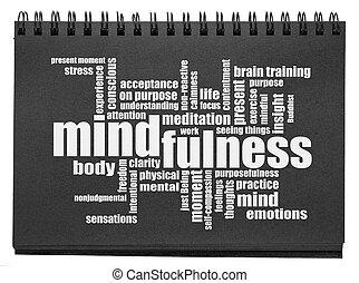 사생첩, 검정, 낱말, 구름, mindfulness