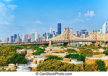 사이의, queensboro, 여왕, 지구, 동쪽, 쪽, 새로운, york., 맨해튼, 더 위의, 가로질러, 다리, 강