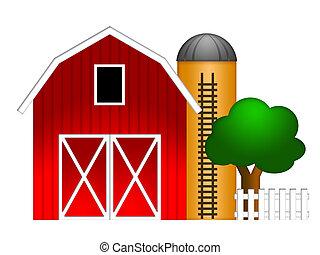 사일로, 곡물, 빨강, 삽화, 헛간
