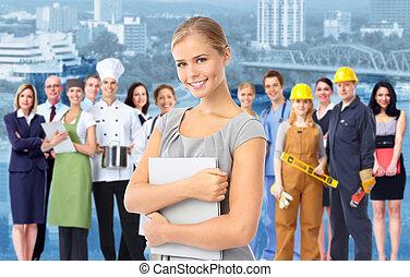 산업의, workers., 여자, 그룹, 사업