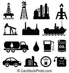 산업, 기름, 세트, 아이콘