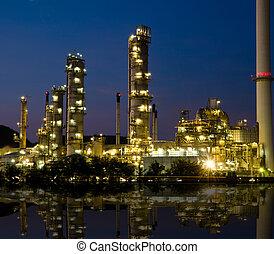 산업, 석유 화학 제품, sunset.