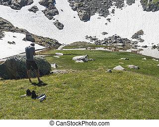 산, 나이, 지나치게 수식적인, 목초지, 풀, 오스트리아, 하이킹, 중앙, hikers, 여름, stubai, flowers., 은 불렀다, paradies, 알프스 산맥, 쉬는 것, 활강의, 한 쌍, 녹색, 티롤, 길게 나부끼다
